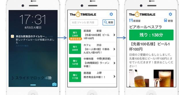 身近な飲食店のタイムセール通知アプリ『TheTIMESALE』サービス開始